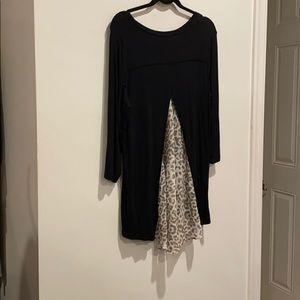 LOGO black long shirt sheer leopard print back